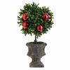 RAZ  Boxwood Topiary in Garden Urn with Ornaments