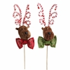 RAZ Chocolate Moose 15 inch Reindeer on Stick set of 2
