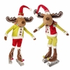 RAZ Chocolate Moose 17 inch Skating Moose Christmas Ornaments