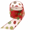 RAZ Chocolate Moose 2.5 Inch Red Glitter Sheer Dot Ribbon