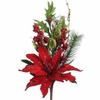 RAZ 19 Inch Red Poinsettia Pick