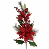 RAZ Festive Forever Poinsettia and Berry Spray