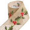 RAZ Fresh Greens 4inch Holly Wired Ribbon