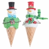 RAZ Gumdrops and Jellybeans 12 Inch Snowman Ice Cream Cone Ornaments set of 2