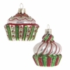 RAZ Gumdrops and Jellybeans 2.5 In Red Green and Pearl Glass Cupcake Ornaments