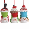 RAZ Gumdrops and Jellybeans 4 Inch Snowman Head with Cupcakes set of  3