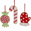 RAZ Gumdrops and Jellybeans 5.5 Inch Candy Cane, Peppermint and Mitten Cookie Ornaments