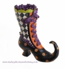RAZ Halloween 10.5 in Resin Witch Boot with Purple Laces