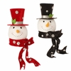 RAZ Holiday on Ice 14.5 Inch Snowman Head Tree Topper with Polka Dot Top Hat