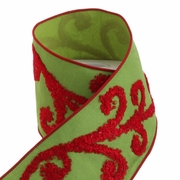 RAZ Holiday on Ice 4 inch Green Wired Ribbon with Red Beaded Swirl