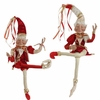 RAZ 36 inch Posable Christmas Elf Red Gold and White