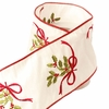 RAZ Merry Mistletoe 4 inch Embroidered Holly Wired Ribbon 5 yards