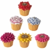 RAZ Mini Flower Cupcake Ornaments set of 6