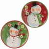RAZ Peppermint Kisses Pair of Snowman Plates
