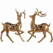 RAZ Poinsettia Damask 13.5inch Deer with Pine and Holly
