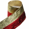 RAZ Poinsettia Damask 4inch Metallic Striped Wired Ribbon