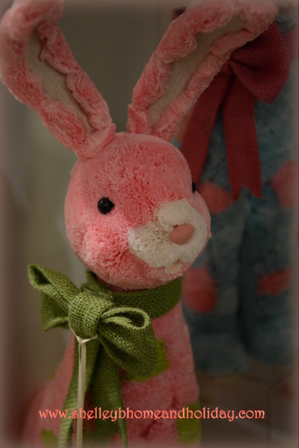 pink polka dot bunny rabbit for decorating. Great for Easter, Spring, nursery or child's room