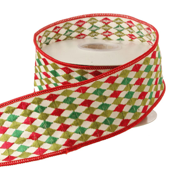RAZ 2.5 inch Red Green and Ivory Harlequin Wired Christmas Ribbon ...