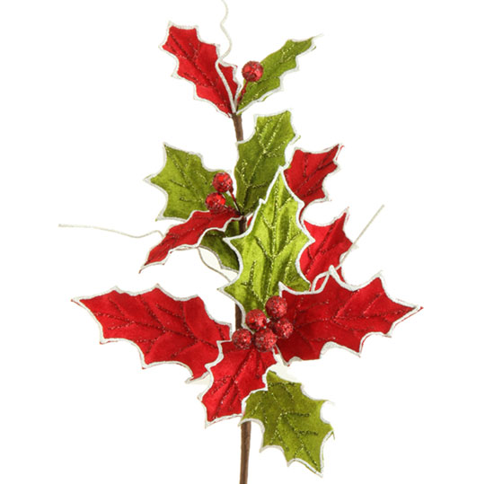 Holly Floral Christmas stem