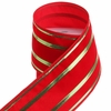 RAZ Sentimental Season 4 inch Red Velvet w Gold Trim Wired Ribbon