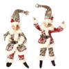 RAZ11 inch Posable Christmas Elf in Red and Silver Set of 2