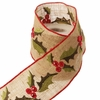 RAZ Tiny Tannenbaums 4 inch Jute Ribbon with Holly Design and Red Trim