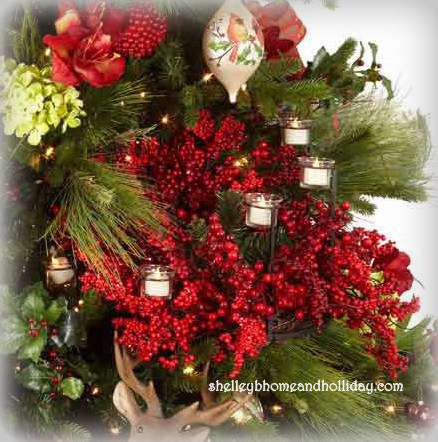 designer Christmas tree with votive candle holders