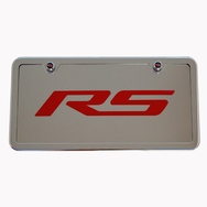 Camaro RS Chrome License Plate Tag and Stainless Steel Frame Red