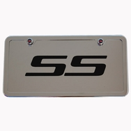 Camaro SS Chrome License Plate Tag and Stainless Steel Frame Black