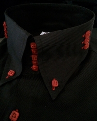 MorCouture 5 Button Black Red 3 Button Side High Collar Shirt