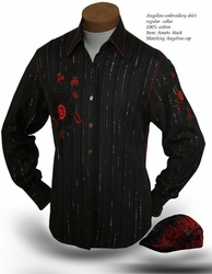Angelino Amato Black High Collar Shirt with Matching Cap