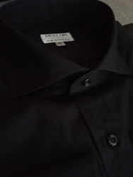 Angelino Black Cutaway Collar Shirt
