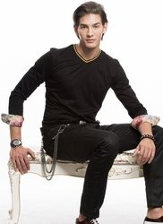 Angelino Black Vneck Long Sleeve floral cuff Shirt -special order