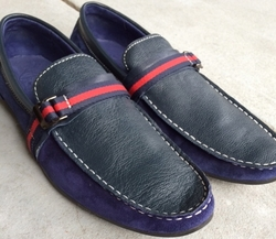 Angelino Blue Leather Blue Suede Slipon Shoes