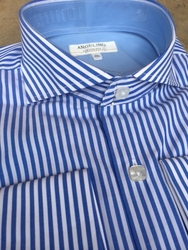 Angelino  Berando Blue Stripe Spread Collar Shirt