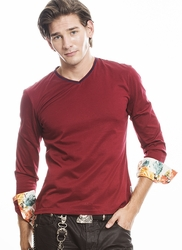 Angelino Burgundy Vneck Long Sleeve floral cuff Shirt -special order