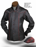Angelino Celino Black Denim High Collar Shirt  (shirt only) Size S(15.5)