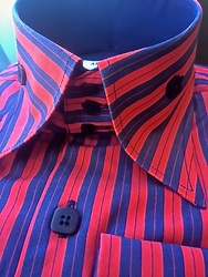 Angelino Rumba Red/Navy High Collar Shirt