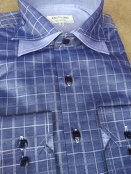 Angelino Navy Check Spread Collar Shirt