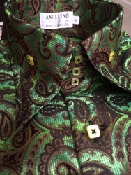 Angelino Paisley Green High Collar Shirt
