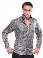Angelino Paisley Silver High Collar Shirt size L(16.5)