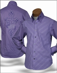 Angelino Cross Purple High Collar Shirt S (15.5)