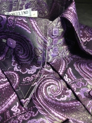 Angelino Purple Paisley HighCollar Shirt size S(15.5)