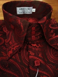 Angelino Red Brown Paisley High Collar Shirt (Optional Fedora hat)