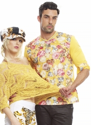 Angelino Yellow Flower Vneck Long Sleeve floral Shirt-special order