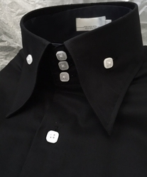 Angelno Black White High Collar Shirt