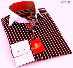Axxess Brown White Stripe High Collar Shirt