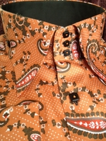 Axxess Orange Brown Paisley High Collar Shirt size 3XL(18.5 - 19)