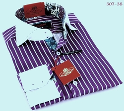 Axxess Purple White Stripe High Collar Shirt