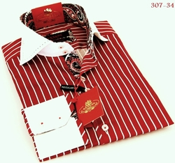 Axxess Red White Stripe High Collar Shirt